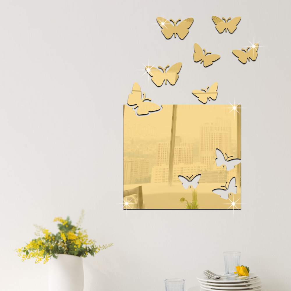 8 Pcs/Set 3D Acrylic Mirror Surface Wall Sticker Butterfly Design ...
