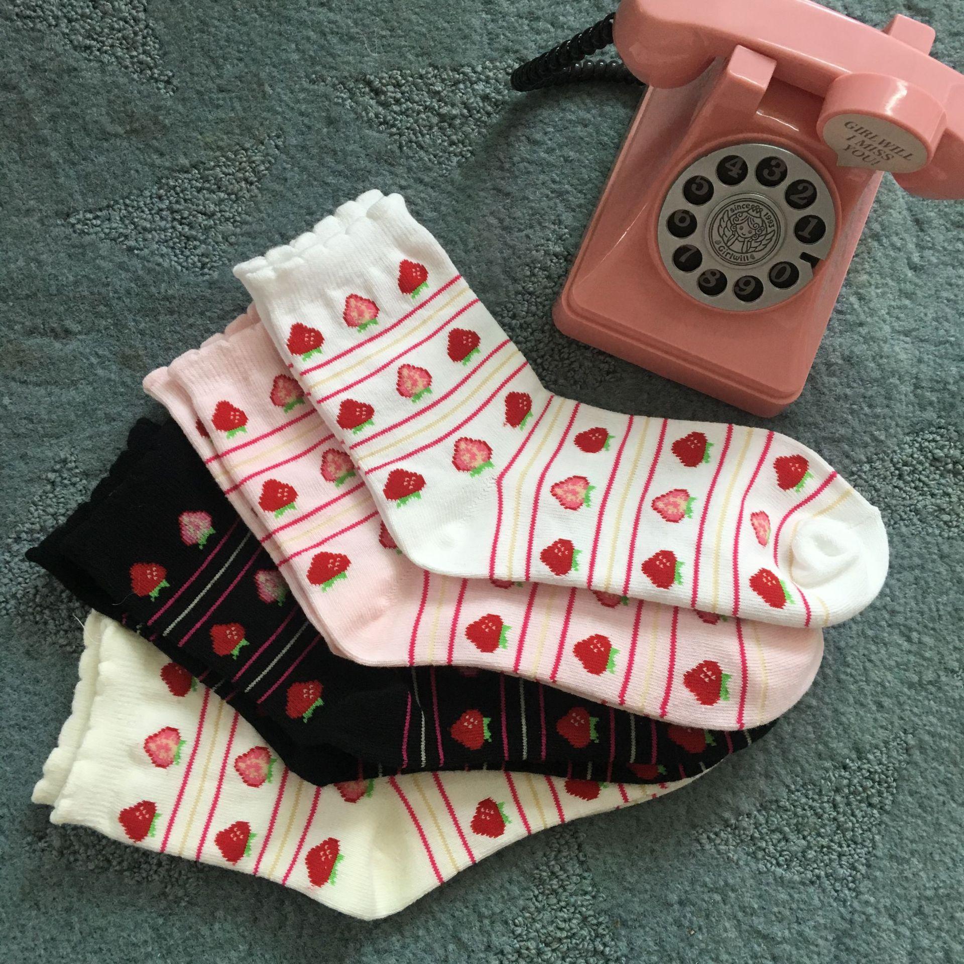 lovely Sweet Strawberry Cotton Female   Socks   Spring Autumn New Cute Kawaii   Socks   Lolita Girls Princess Women Fashion   Socks