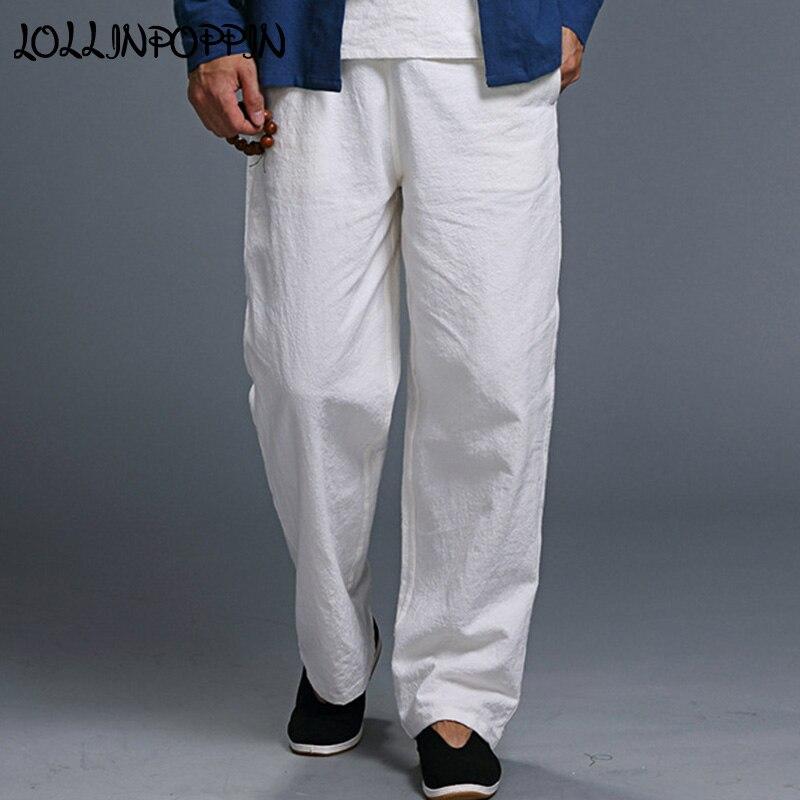 Solid Color Men Linen Pants Elastic Waist Comfortable Casual Cotton & Linen Trousers Mens Flax Pantalones