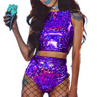 fashion Queen Holographic Crop Top and Hot Shorts Two Piece Set Sexy Lace Up Festival Party Rave Clothing Women 2 Piece Sets