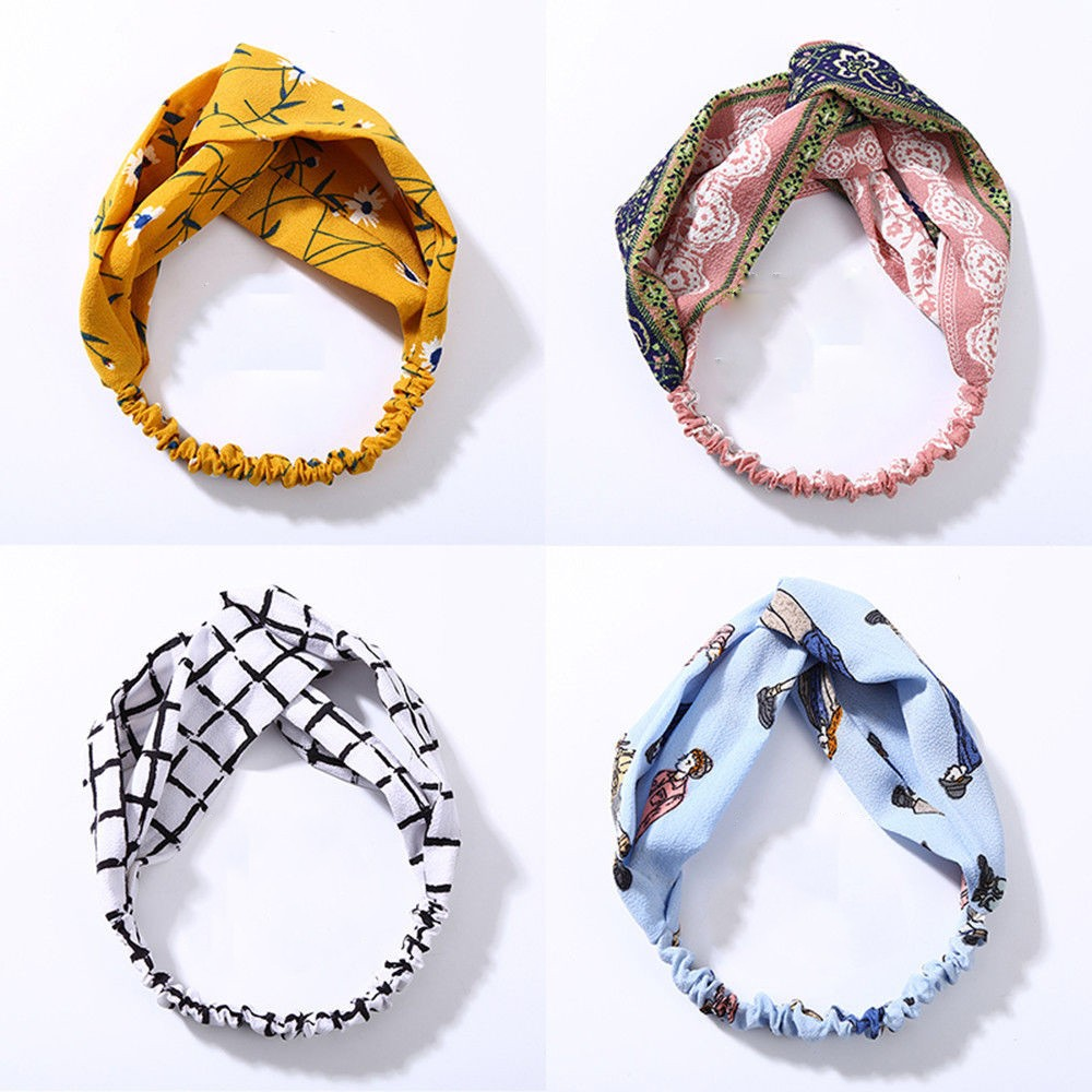 Fashion Plaid Printing Knot Headband Turban Elastic Hairband Head Wrap HairBands Women Girls Striped   Headwear   Accessories #YL10