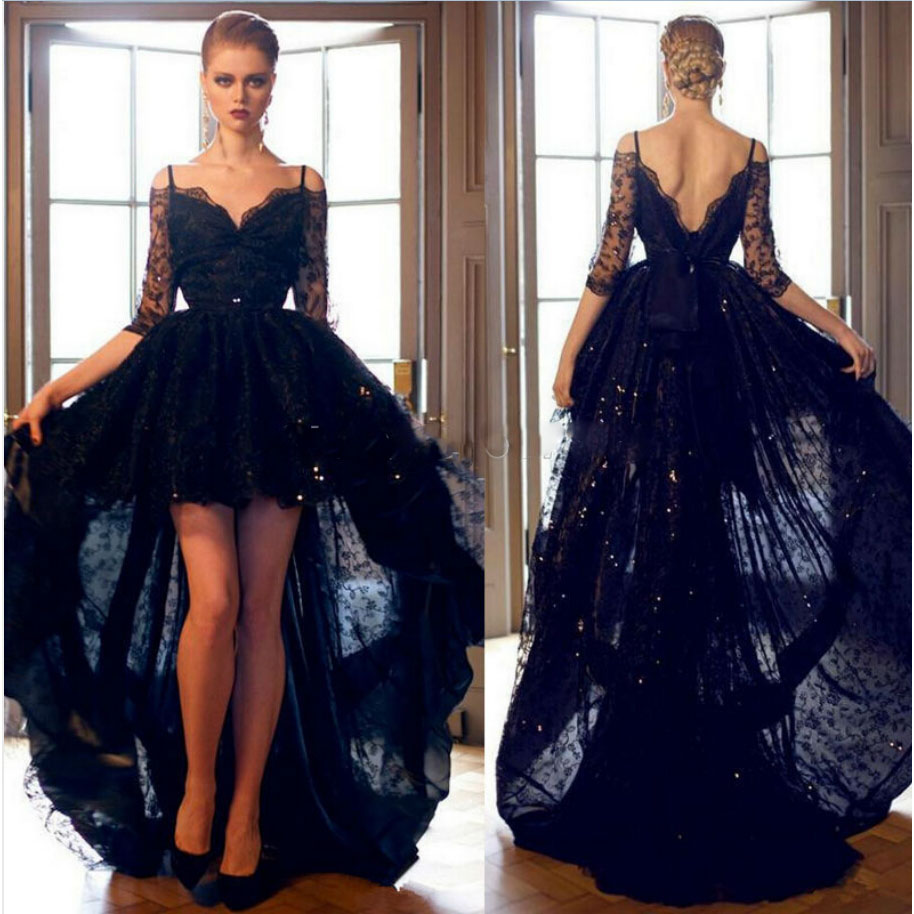 2015 Short Front Long Back Black Lace High Low Prom Dress