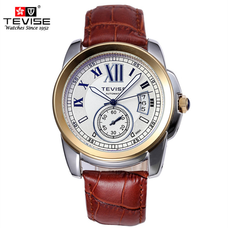 Mechanical Watch Men Luxury Clock TEVISE Classic Leather Strap Male Watches Fashion Automatic Mechanical Brand Wristwatches 2017 classic design watches pp men luxury brand auto mechanical watch wristwatches casual fashion leather strap male clock