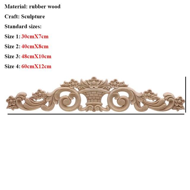 VZLX Floral Wood Carved Corner Applique Vintage Wooden Carving Decal For Furniture Cabinet Door Frame Wall Home Decor Crafts 3