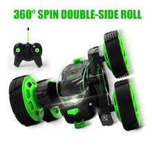 RC Car 4CH Rock Crawler Car LED Light Stunt Truck Double Side Roll High Speed RC