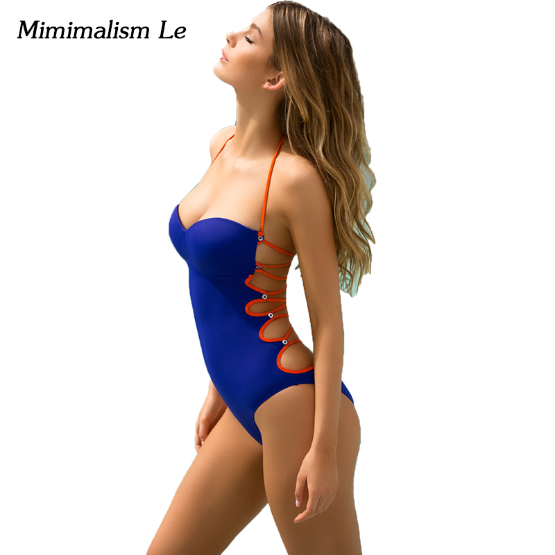 Minimalism Le Bandage One Piece Swimsuit 2017 Sexy Push Up Women Swimwear Halter Top Maillot De Bain Femme Bathing Suit BK713 sexy women one piece swimsuit push up bikini mayo bandage ties monokini swimsuit bathing suit swimwear maillot de bain femme