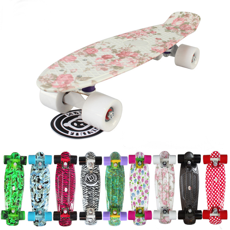 HOT  sales  Mini Cruiser Board Plastic Skateboard 22 X 6 Retro Longboard Skate Long Board Floral Graphic Printed 8 color