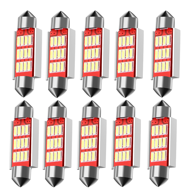 10PCS Festoon 31mm 36mm 39mm 41mm C5W CANBUS NO Error Auto Light 12 SMD 4014 LED Car Interior Dome Lamp Reading Bulb White DC12V цена