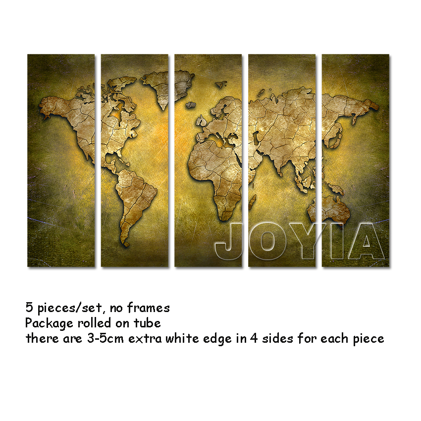 Large Wall Art World Map Painting 5 Panel Canvas Art Paintings ...