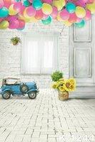 Ballon Zonnebloemen Wit Gordijn Achtergronden Vinyl Fotostudio 5x7ft Fotografische Achtergronden Kids Auto Speelgoed Floor Vinyl Achtergronden