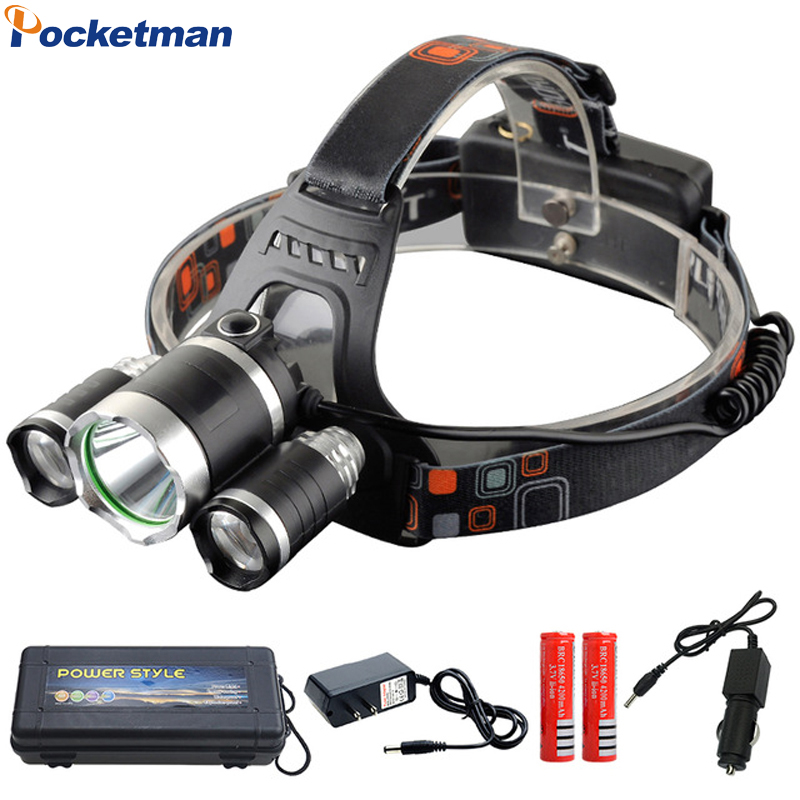 Led Headlight 9000Lm T6 headlamp 3x XM-L T6 LED Flashlight Torch Lanterna 4-mode 18650 battery+Car charger for Camping Hunting