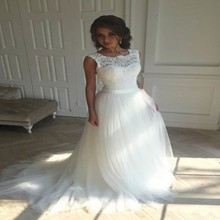 Cheap 2017 Tulle Wedding Dresses Long With Lace Appliques Pleat Wedding Gowns Bridal Dress New Custom