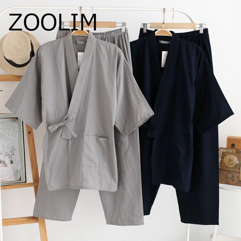 Pajamas-Sets Sleepwear Japanese-Style Kimono Male 100%Cotton Autumn Soft ZOOLIM High-Quality