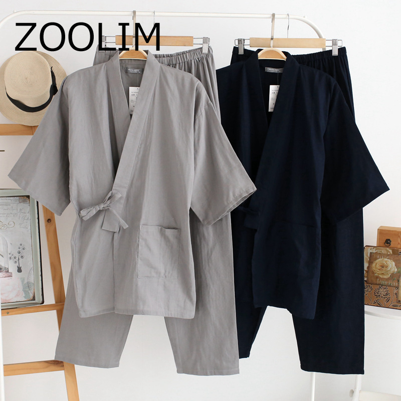 ZOOLIM Autumn Male Pajamas Sets 100% Cotton Kimono Sleepwear Japanese Style Pyjamas Men Soft Home Wear 2 Pieces High Quality