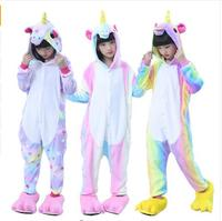 2017 Unisex Rainbow Unicorn Onesie Anime Kigurumi Stitch Animal Cute Cartoon Cosplay Costumes Warm Sleepwear For