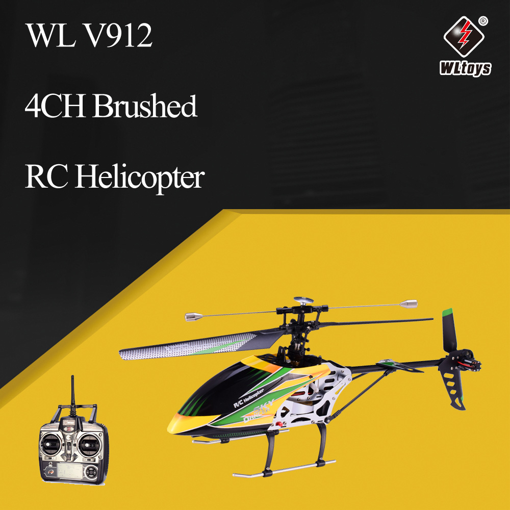 WLtoys V912 Sky Dancer 4CH Brushed Single Blade RC Helicopter with Gyro Head Lamp Light RC Drones Quadcopter RTF(China)