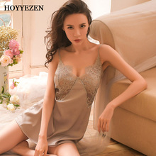 Sexy nightwear pajama dress sling strapless backless comfort ice silk dress sleepwear set nightdress suit