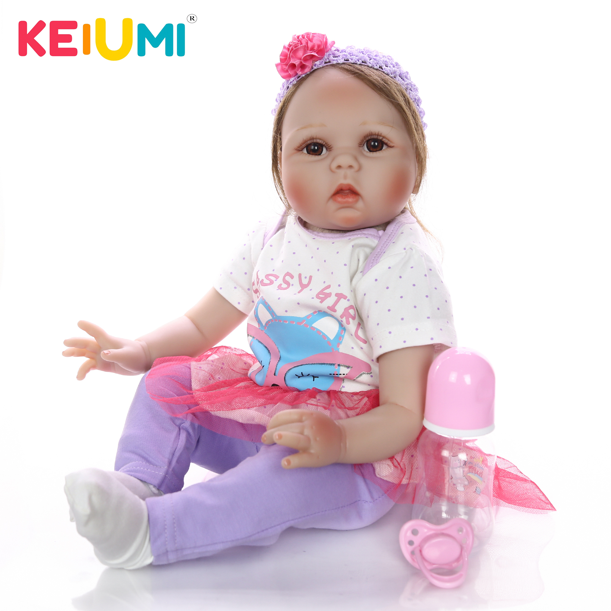 New Arrival 22 Inch Soft Silicone Reborn Baby Girl Doll 55 cm Lifelike Baby Doll With
