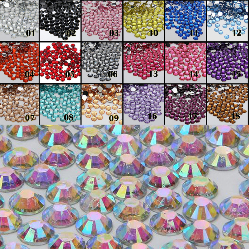 1000pcs 2mm FlatBack 14 Facet Rhinestones DIY Nail Art Mobile Phone SS6 Loose Beads Stones Crystal AB 18 Colors for Slection gitter 2 6mm citrine ab color resin rhinestones 14 facets round flatback non hotfix beads for 3d nail art decorations diy design