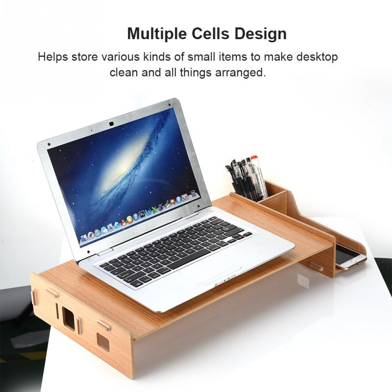 Solid Monitor Stand Organizer High Density HDF Board Desktop Monitor Riser for Monitor for laptop ...