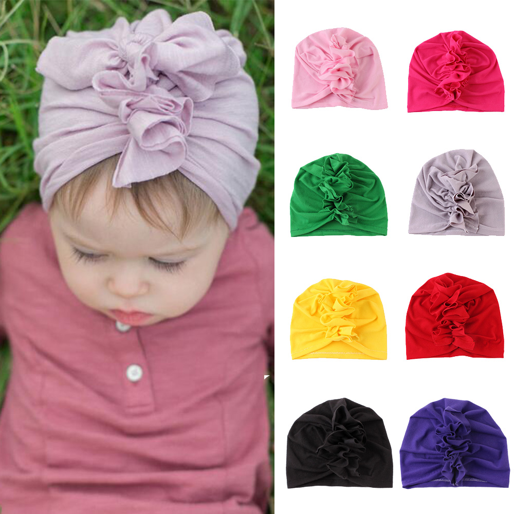 9 Colors Baby Cotton Soft Hats Top Knot Cotton Soft Turban Knot Girl Summer Beanies Hats Kids Newborn Cap For Baby Girls