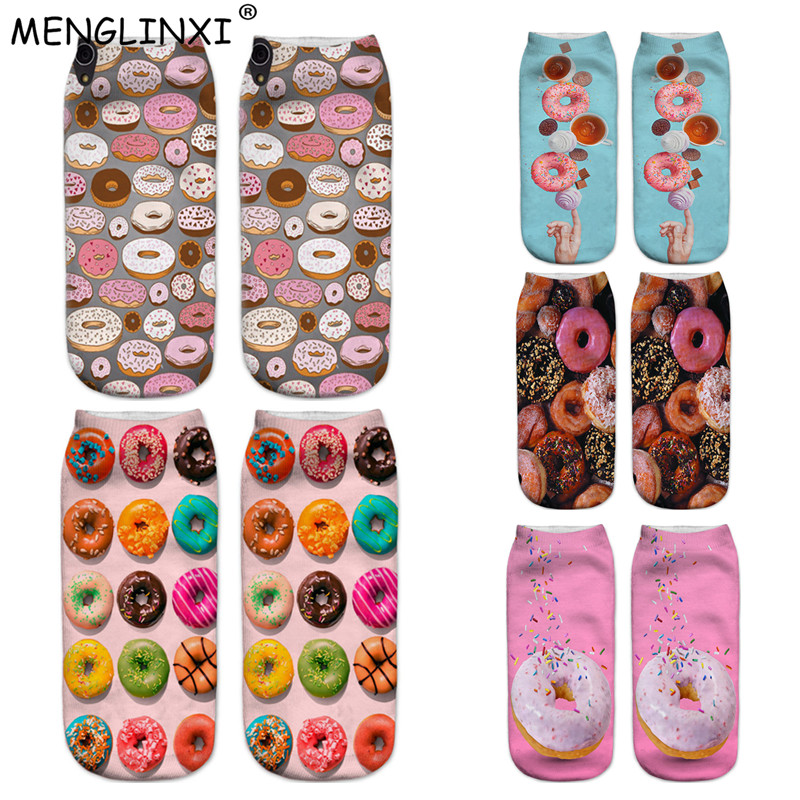 Doughnut Happy   Socks   2018 New Food And Fruit Print 3D   Socks   Women Kawaii Calcetines Femme Girls Cute Emoji Funny   Socks   Wholesale