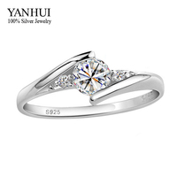 Have Certificates Guarantee 100 925 Solid Silver 1 Carat CZ Diamond Wedding Rings For Women RING