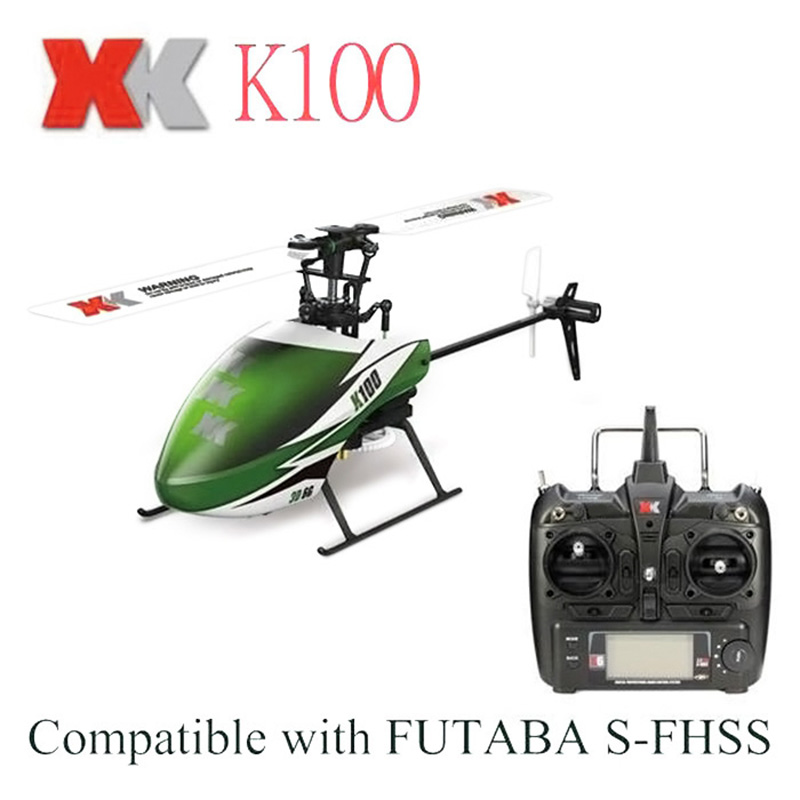 Original XK K100 Mini Helicopter 2.4G 6 CH with Gyro RTF Version 3D 6G System RC Helicopter Compatible Children Kid Toys