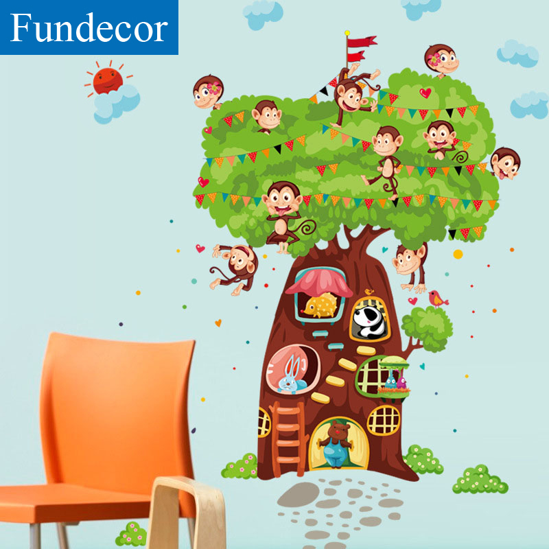 Cartoon Trees Curtains For Kids Boys Bedroom Blinds Linen: [Fundecor] DIY Cartoon Monkey Tree Children Wall Stickers