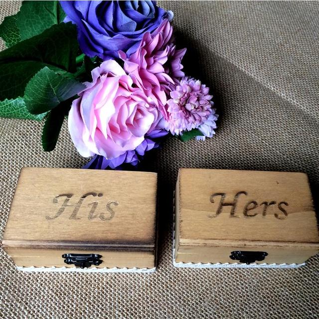 Asypets 2 Pcs Wooden Ring Box His And Hers Wedding Valentines
