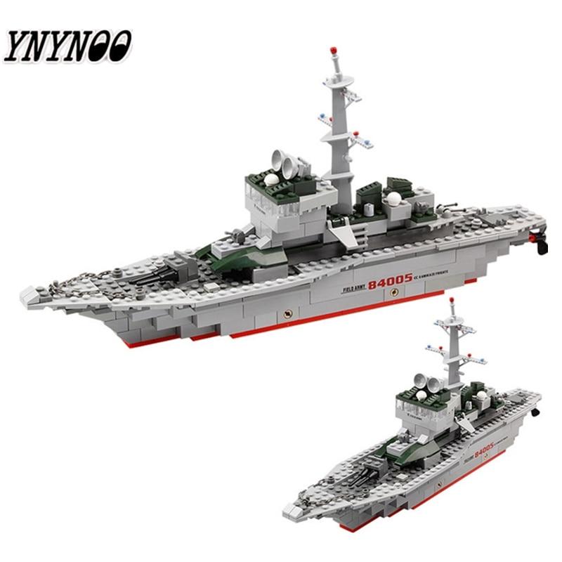 YNYNOO KAZI 228 stücke 84005 Military Schiff Modell Bausteine Kinder Spielzeug Nachahmung Gun Waffe Ausrüstung Technik Designer spielzeug