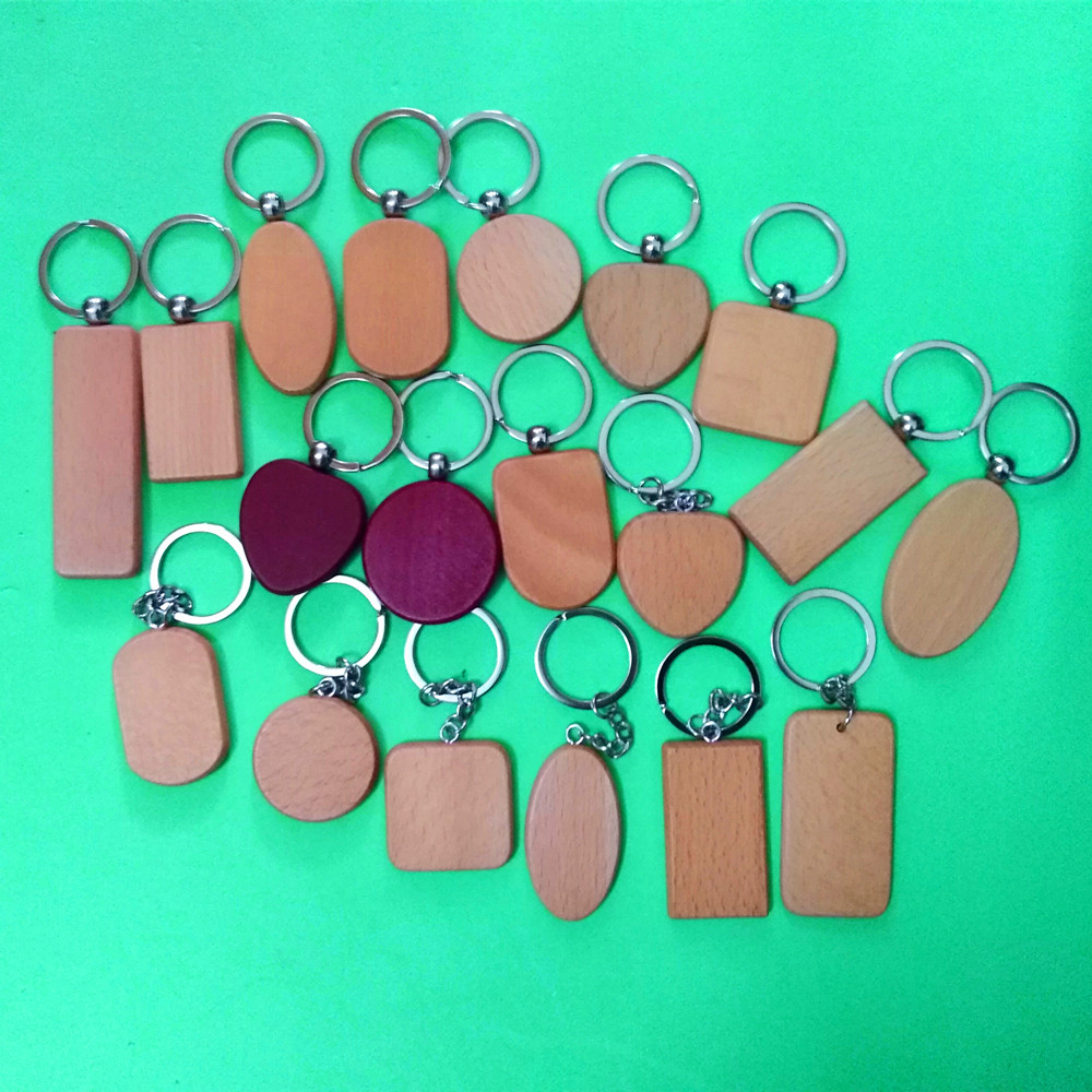 100 Pcs Wooden Keychains DIY Blank Keyring Round/Square/Rectangle/oval/Heart/Shield keychain Anti Lost Wood Customized Gifts