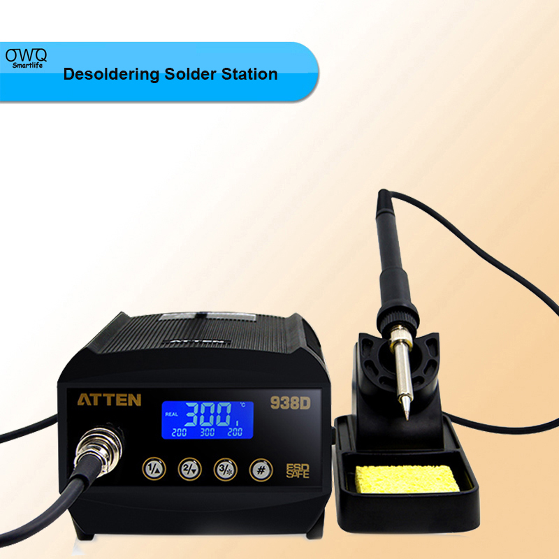 2PCS/Lot Atten AT938D ESD Safe 220V 60W Digital Welding Desoldering Solder Station Solder Iron LCD Display original quality goods 50w atten at936b soldering station solder iron at 936b welding station for bga welding accessory