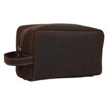 TIDING Men's Real Leather Large Clutch Purse Pouch Wrist Bag Handbag Zipper Wallet 2025