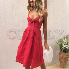 CUERLY Hollow out bow midi dress women Causal backless summer female Button strap white 2019 spring vestidos