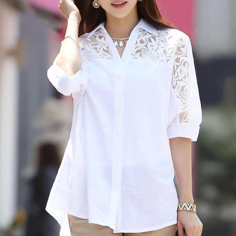 Blusas mujer de moda 2019 white blouses shirt plus size women ladies tops Middle long white lace shirt bat sleeve 2589 50
