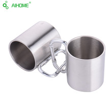 1 Piece 220ml Stainless Steel Camping Cup Traveling Outdoor Camping Hiking Mug Portable Cup Bottle With the Keyring
