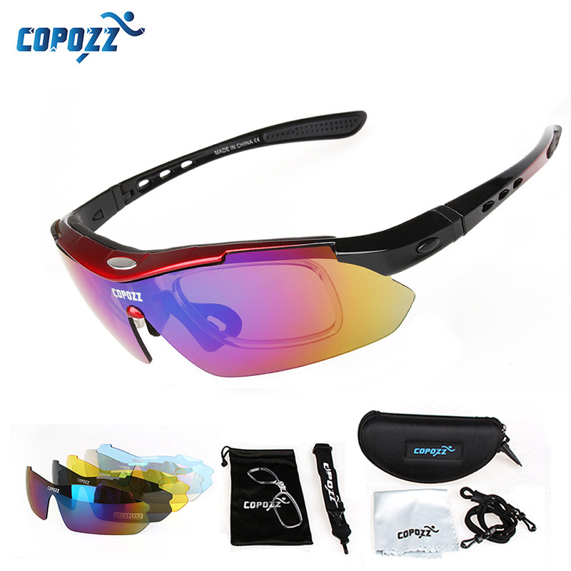 COPOZZ UV400 Polarized Men women Cycling Glasses Outdoor Sport Mountain Road Bicycle MTB Running Fishing Sunglasses with 5 Lens