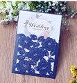 Tarjetas de invitaciones de boda de alta calidad papel nacarado 130*190mm diseño increíble bolsillo y tarjeta de inserción