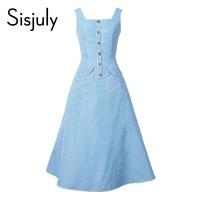 Sisjuly Women Vintage Summer Dress Stripe Retro Light Blue Dresses Pockets Buttons Slim Summer Elegant A