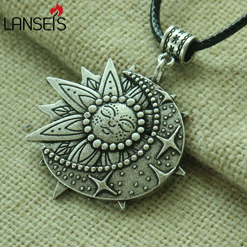 lanseis 1pcs 3D Lil solar and celestial pendant Mandala flower women necklace talisman jewelry geometry amulet Religious pendan
