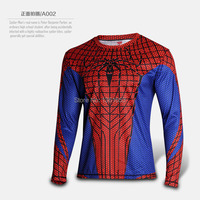 Spide Man jersey cosplay costume t shirt full sleeve tee 2016 spring man shirts New Arrive Super Hero cos costumes