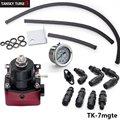 Tansky -Universal Adjustable Fuel Pressure Regulator Kit Oil 0-160psi Gauge Universal Black+Red -6AN Fit Oil cooler kit TK-7mgte