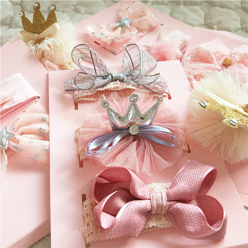 Baby Girl Headwear Infant Baby Headbands Handmade Princess Bow Hairband Crown Girls Birthday Gifts Box Newborn Baby Accessories