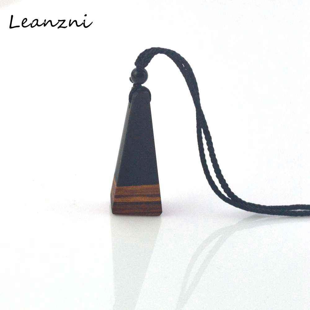 목걸이 펜던트와 leanzni 수제 나무 블랙 수지, 남성과 여성은 보석, 뜨개질 로프, 선물, 도매에 사용할 수 있습니다