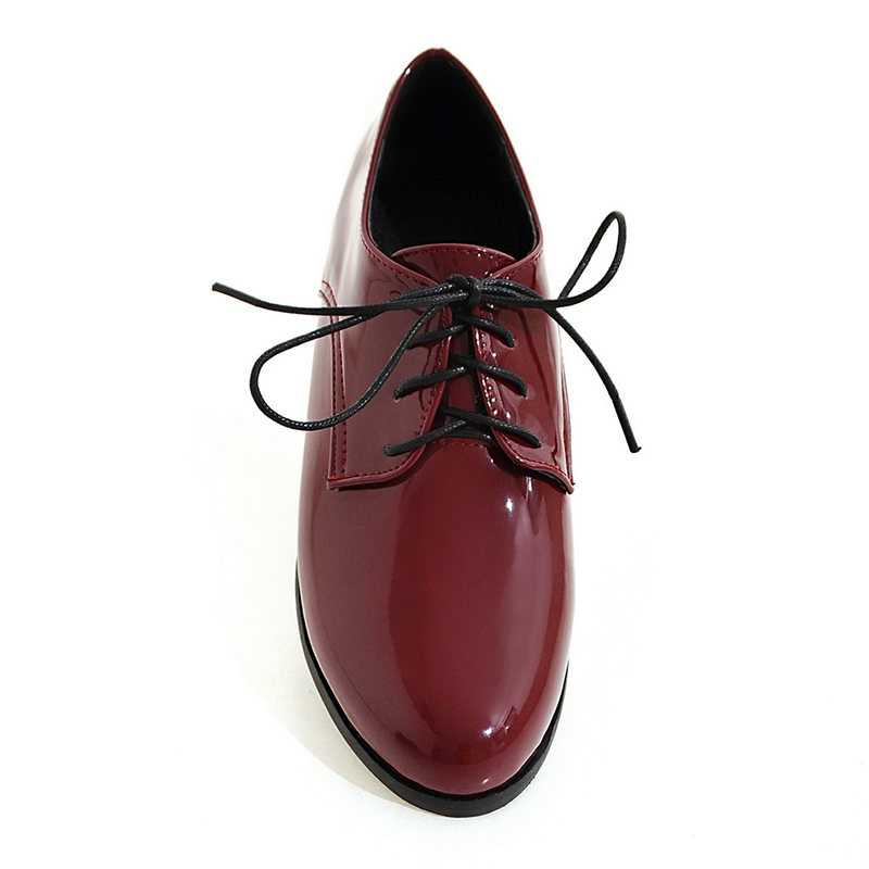 Chaussures Black Sexy Pzilae Femmes Cuir Dames En Oxford Taille Femme red Derbies Verni À Plates Grande silver Casual Lacets Appartements Mocassins BfqXS