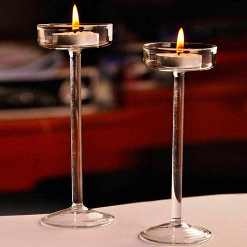 European High Candlestick Glass Candle Holder Romantic Dinner Decoration  #3