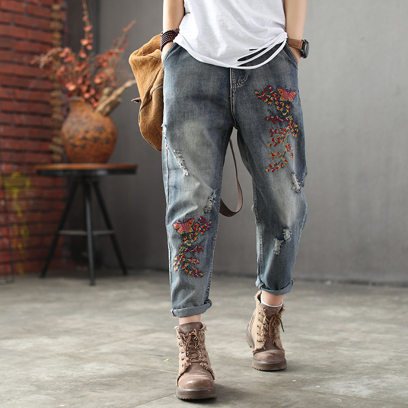 New Woman Embroidered Ripped Retro Jeans Denim Pants Ladies Elastic Waist Bleached Vintage Denim Trousers Embroidery Jeans