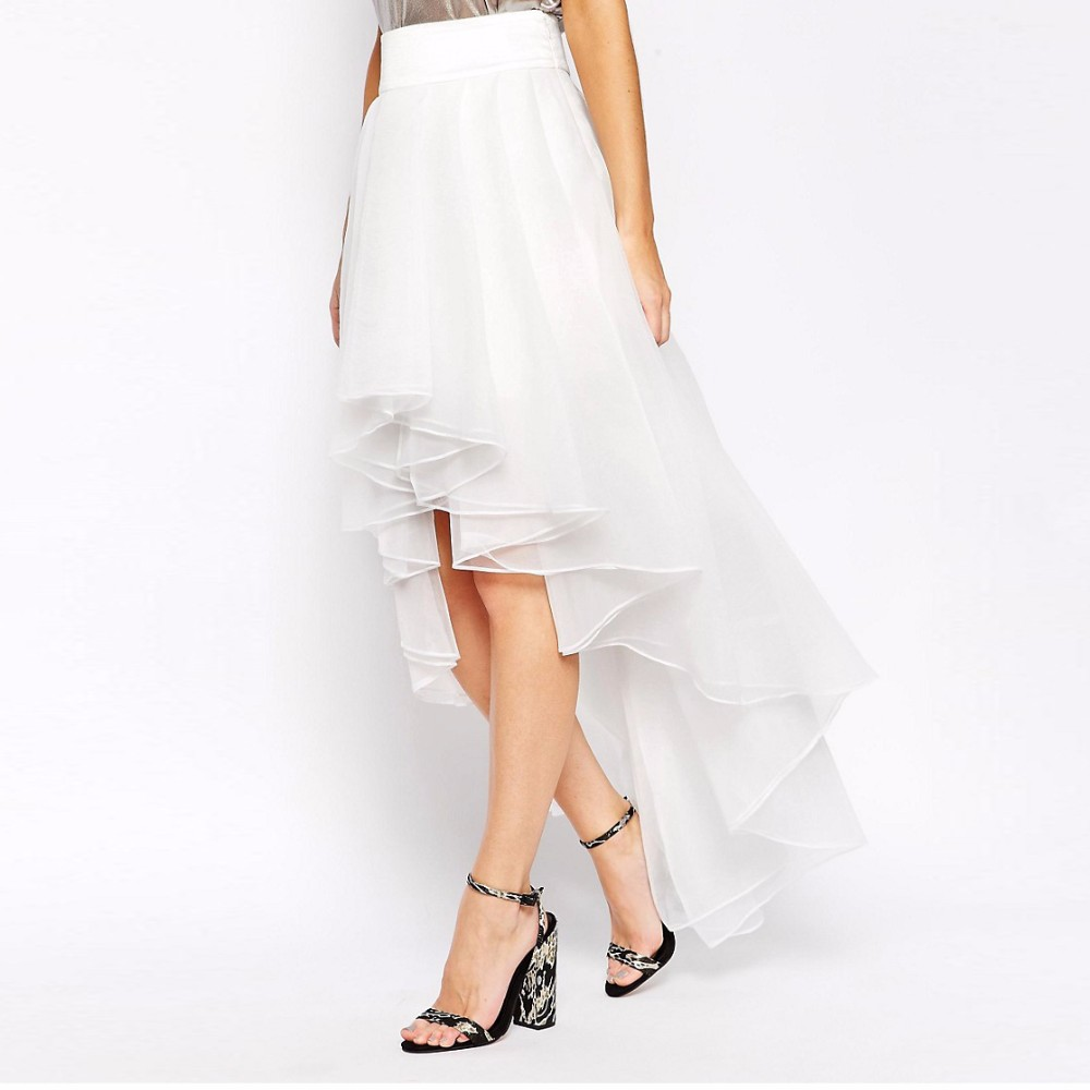 High Low Organza Skirts For Lady Special Design Chic Floor Length Long Skirt Ruffles Asymmetrical Zipper Summer Style