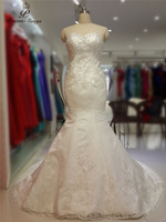 PoemsSongs Real Photo High Quality Custom Made Lustrous Satin With Silver Flowers Mermaid Wedding Dress